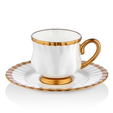 Koleksiyon Evaliza Sophia English Bone 6Lı Kahve Fincanı Altın Altın